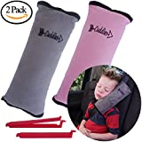 Seat Belt Pillow for Kids by Cuddles | 2 Pack Seatbelt Pillow| seat Belt Pillows| Kids Seatbelt Pillow| Seatbelt Pillow for Kids| car Travel Head Cushion, Washable Cover, Headrest Pink Gray