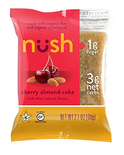 Low Carb Keto Snack Cakes (Flax-Based) - Cherry Almond Flavor (6 Cakes) - Gluten Free, Soy Free, Organic, No Sugar Added - Great for Ketogenic, Low-Carb, Atkins, and Low-Sugar Diets