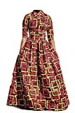 Africa Tribal Printed Dress 2-Piece Lapel Crop Top Maxi Long Swing Skirt Geometry Dress Half Sleeve