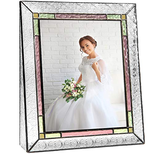 - J Devlin Pic 137-81V Stained Glass Picture Frame Colorful Pale Purple Pink Green Family Wedding Photo Frame 8x10 Vertical