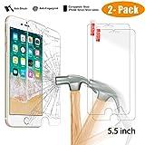 NeWisdom iPhone 8 Plus iPhone 7 Plus Screen Protector Tempered Glass Premium HD Anti Fingerprint Anti Shock Glass Protector for Apple iPhone 8Plus 7Plus 6S Plus 6 Plus 5.5 inch (2 Pack)
