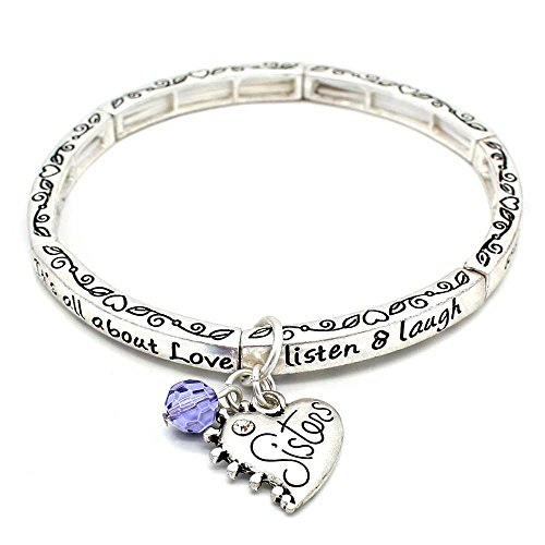 All About Love Charm Bracelet, 'Sisters' - This Stretchy Bangle Bracelet Is The Perfect Gift Making Anyone Feel Special And Loved - Contortionist Costume