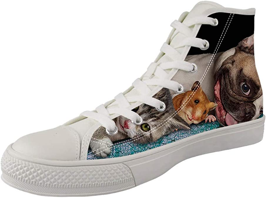 Zzjsstore Design High-Side Canvas Shoes 3D PrintedLovely cat Patterned High-Side Black Bottom Canvas Shoes are Suitable for Womens Leisure