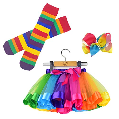 Bingoshine Little Girls Tutu Outfit,Layered Ballet Tulle Rainbow Tutu Skirt with Hairbow and Long Stockings (Rainbow, L,4-8 Years)