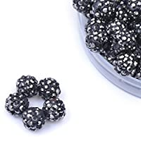 iCherry(TM) 10mm 100pcs/Lot Black Ore Color Clay Pave Disco Ball for Rhinestone Crystal Shamballa Beads Charms Jewelry Makings
