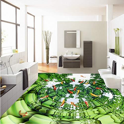 Weaeo  回転芝生の鯉3Dフロア塗装ホテルロビー廊下ノンスリップフロアの壁紙壁画-400X280Cm B07H1B9DGQ 400X280cm 400X280cm
