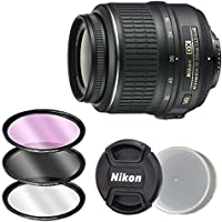 Nikon AF-S DX NIKKOR 18-55mm f/3.5-5.6G Vibration Reduction VR Zoom Lens with Auto Focus + 3pc Filter Kit for Nikon DSLR Cameras (White Box)