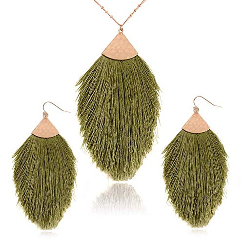 - Bohemian Statement Tassel Long Chain Necklace and Dangle Earring - Strand Fringe Fan Shape Charm Jewelry Set for Women and Girls (Green)