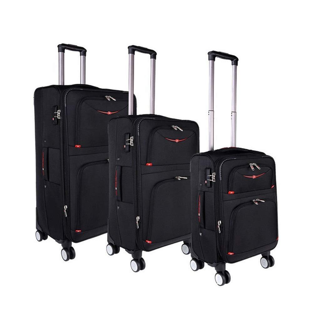 スーツケース 入れ子になったセットスケーラブルコラムポータブルラゲッジソフトシェル軽量サイレントローテーター多方向ホイール、旅行搭乗用 多機能省スペース機内持ち込みスーツケース (色 : ブラック, サイズ : 20in+24in+28in) B07STZDWL4 ブラック 20in+24in+28in