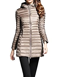 Women's Ultra Light Thin Packable Travel Hooded Outerwear Light Weight Basic Down Coat Outdoor Casual Long Jacket