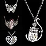 AILUOR Steampunk Gear Pendant Necklace, Punk Vintage Gothic Love Heart Owl Butterfly Bee Insect Chain Sweater Pendant… 8