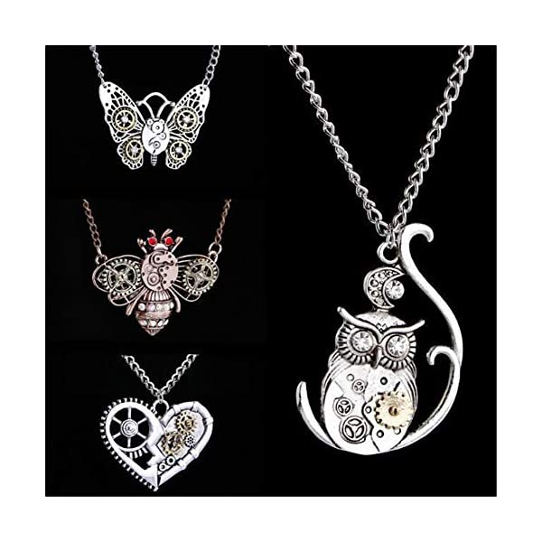 AILUOR Steampunk Gear Pendant Necklace, Punk Vintage Gothic Love Heart Owl Butterfly Bee Insect Chain Sweater Pendant… 5