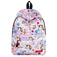 Pantipinky Cute Rainbow Unicorn Teen Girls Backpack for Student Back to School BookBag Fits 14 Inches Laptop Travel Daypack