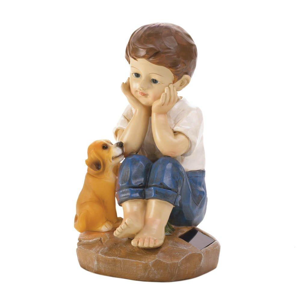 Boy and Puppy Solar Garden Figurine