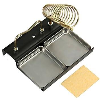 Calli Base de metal doble portapistolas soldador soporte del montaje del soporte de la estación de esponja +: Amazon.es: Electrónica