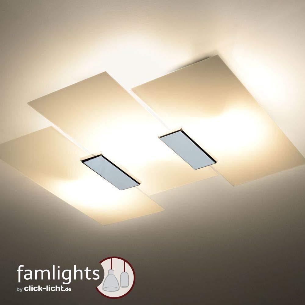 Famlights Deckenleuchte Armin aus Glas, Weiß Deckenlampe ...