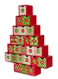 """Arts & Crafts : Simply Baked Treasure Box Advent Calendar, Medium, Red and Green Pattern, Heirloom Quality, 15 1/2"""" Tall by 12 1/2"""" Wide with 2 1/2"""" deep box drawers"""