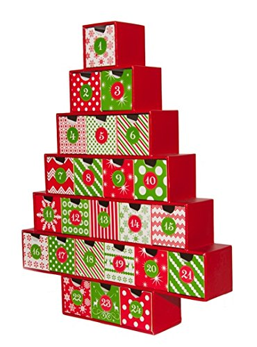 Simply Baked Treasure Box Advent Calendar, Medium, Red and Green Pattern, Heirloom Quality, 2