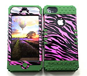 SHOCKPROOF HYBRID CELL PHONE COVER PROTECTOR FACEPLATE HARD CASE AND DARK GREEN SKIN WITH STYLUS PEN. KOOL KASE ROCKER FOR APPLE IPHONE 5 5S ZEBRA DG-TP1300-S