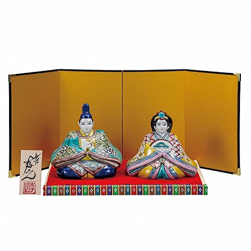 Jpanese traditional ceramic Kutani ware. Japanese girl's doll Hina ningyo. Iroe shochikubai. With paper box. ktn-K5-1676