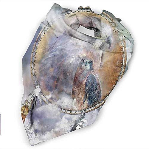 Custom Made Dog Bandanas,Washable Triangle Bibs Scarfs,-Dream Catcher Art Owl Spirit Pattern Printing Colorful