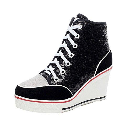 Mode Sneakers Blanc Chaussures Baskets Casuel Tennis Paillette Femme Toile Compensées HUqycwR5