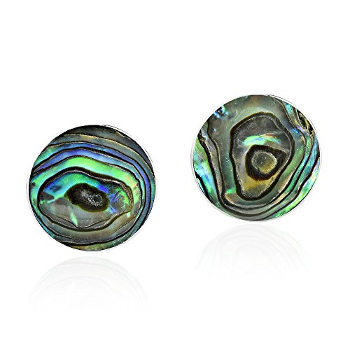 Abalone Round Earrings (Green Abalone Shell Mystical Round .925 Sterling Silver Post Earrings)