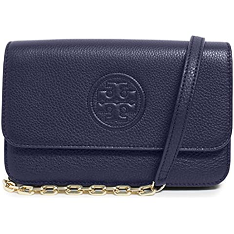 33c6948b1eca Tory Burch Bag Bombe Mini TB Logo Leather Crossbody (Navy)
