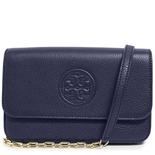 Tory Burch Bag Bombe Mini TB Logo Leather Crossbody - Blue Burch Bag Tory