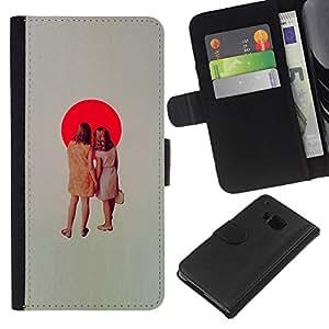 KingStore / Leather Etui en cuir / HTC One M7 / Bandera del japonés de Sun Mancha Roja Retro Girls