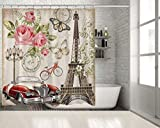 Pink and Purple Polka Dot Shower Curtain Positive Home Paris Eiffel Tower Rose Flowers Bicycle Vintage Car Butterflies Street Lamp Postcard Country Style Romantic Red Pink Green Artwork Print Long Shower Curtain 70