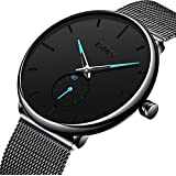 Watch Mens Black Casual Simple Ultra Thin...