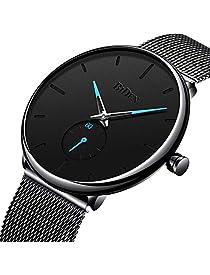 Watch Mens Black Casual Simple Ultra Thin Fashion Business Dress Waterproof Quartz Watch with Mesh Band