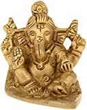 Kapasi Handicrafts God Ganesha / Ganesh Sitting On Leaf Brass Idol Statue (LxBXH) (5.08 x 7.62 x 5.08 cms, Gold)