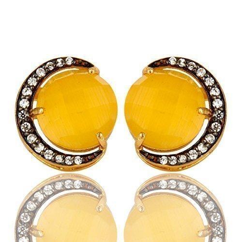Moonstone Yellow Earrings - Yellow Moonstone Half Moon Design Silver Stud Earrings