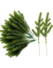 Alpurple 50 Packs Artificial Pine Needles Branches Garland-6.7x2.0 Inch Green Plants Pine Needles,Fake Greenery Pine Picks for DIY Garland Wreath Christmas Embellishing and Home Garden Decoration