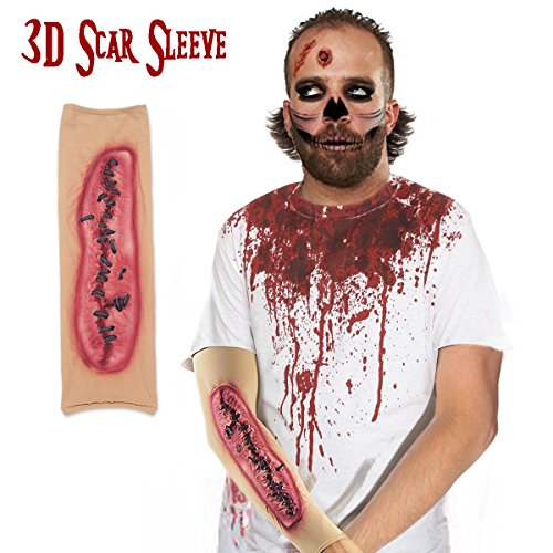 Pawliss Halloween Scary Zombie 3D Scars Sleeves Accessories for Man Women Horror (The Walking Dead Zombie Adult Costumes)