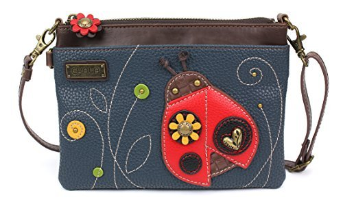 Chala Mini Crossbody Handbag, Multi Zipper, Pu Leather, Small Shoulder Purse Adjustable Strap, Ladybug - Navy