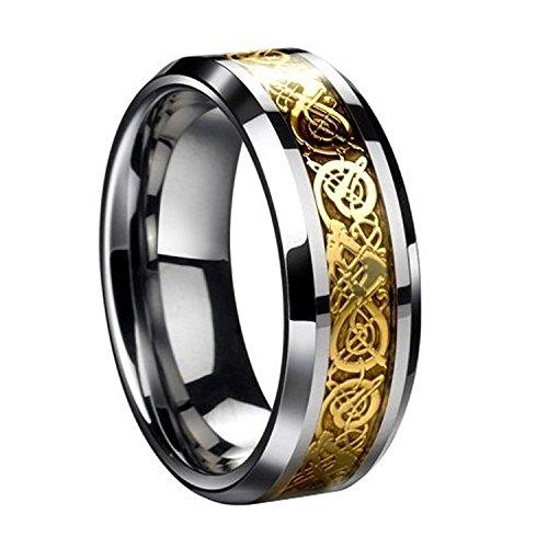Herren Ring – SODIAL(R)Drachenschuppe Drachen Muster schraeg Kanten keltisch Ringe Schmuck Hochzeitsband fuer Maenner Golden 10