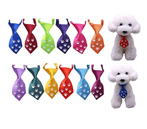 NEW Dog Cat Ties, Glow in Dark,Dog Ties Paw Print Glow, pet Collar, Dog Collar accessories, Dog Bowtie Holidays 12pcs/Pack by taobaby