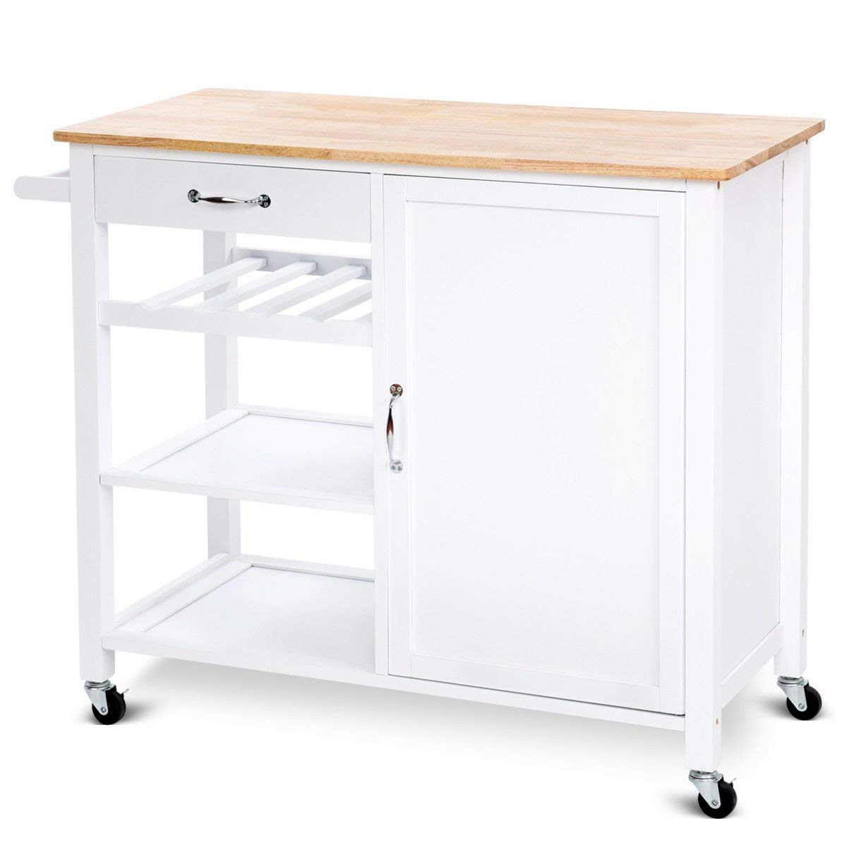 Giantex 4-Tier Kitchen Trolley Cart w/Wheels Rolling Storage Cabinet Wooden Table Multi-Function Island Cart Kitchen Truck White