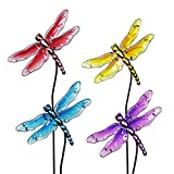 Exhart Dragonfly Garden Stakes, Glass, Set of 4, Red Yellow Turquoise Purple, 8.75'' L x 1'' W x 26'' H