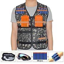 Kids Tactical Vest Sets for Nerf Toy Guns N-strike Elite - Jungle (comes with Seamless Skull Face Mask+Windproof Goggles+50pcs Foam Darts+2pcs 5-dart Quick Reload Clip+2pcs Refill Darts Wrist Belt)