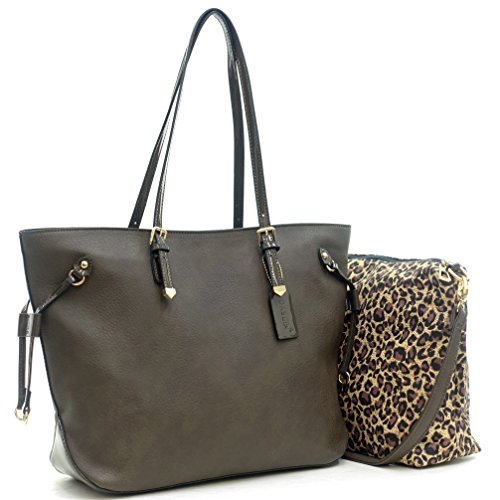 Dasein 2-in-1 Gold Tone Patent Trim Tote Shoulder Bag Handbag Purse - (Grey - New) ()