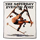 Saturday Evening Post Royal Plush Fleece Sking Throw Blanket Wipeout On Skis