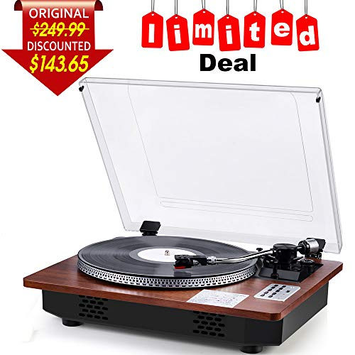 Record Player Turntable Professional Full-sized Wireless Receiver and Transmitter Automatic Vinyl Records Wireless Belt-Drive Stereo Record Player Vinyl-to-MP3 Encoding USB Player