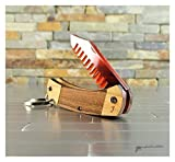 Mini Buck Knife Mustache Comb in Hardwood and Bamboo with Engraved Details
