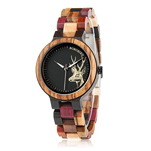 BOBO BIRD Wood Wristwatch Womens Colorful Wooden Watches Casual Quartz Watch Unique Deer Pattern Elegant Ladies Wristwatch for $<!--$32.99-->