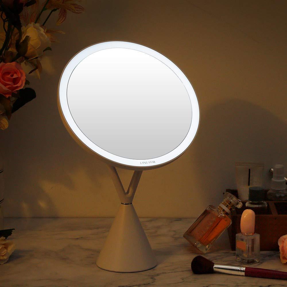 espejo de maquillaje de 21 cm de di/ámetro Espejo de maquillaje con iluminaci/ón sin deslumbramiento LANGSTAR Espejo de maquillaje LED con luz