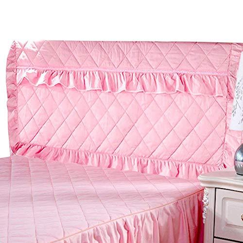 Lzttyee Thickening Cotton Bed Headboard Slipcover Protector Pure Color Dustproof Slipcovers for Bedroom Decor (Queen, Pink) - Slipcover Headboard Cotton